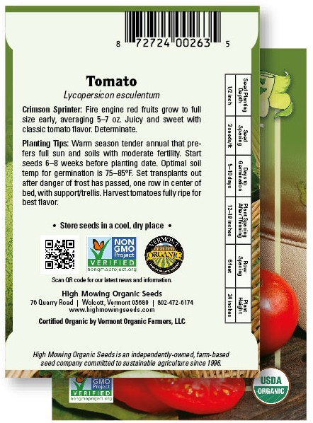 Back of High Mowing Organic Seeds packet for tomato seeds.